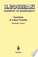 Elements of Mathematics Functions of a Real Variable