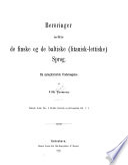 Beröringer mellem de finske og de baltiske (litauisk-lettiske) sprog; en sproghistorisk undersøgelse