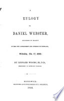 A Eulogy On Daniel Webster