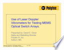 Use of Laser Doppler Vibrometers for Testing MEMS Optical Switch Arrays