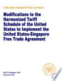 Modifications to the Harmonized Tariff Schedule of the U S  to Implement the U S  Singapore Free Trade Agreement