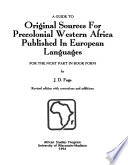 A Guide to Original Sources for Precolonial Western Africa Published in European Languages