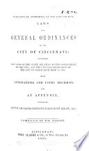 Laws and General Ordinances of the City of Cincinnati