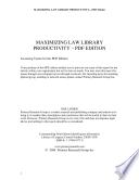 Maximizing Law Library Productivity Book