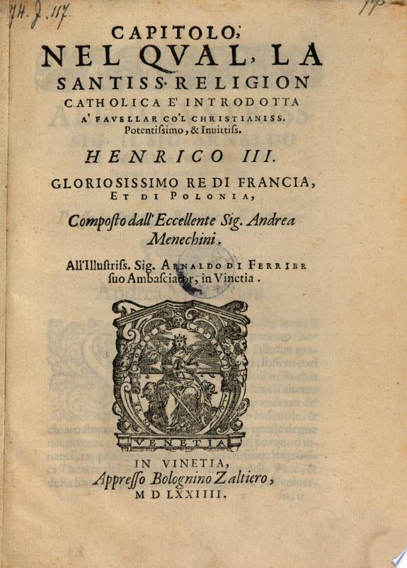 Capitolo, nel qual la religion catholica e introdotta a Savellar con Henrico III., Re di Francia et di Polonia. - Vinetia, Zaltiero 1574
