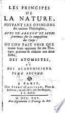 Les Principes De La Nature, Suivant Les Opinions des anciens Philosophes