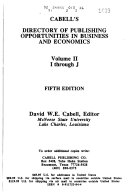 Cabell s Directory of Publishing Opportunities in Business and Economics  I through J Book