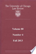 University Of Chicago Law Review Volume 80 Number 4 Fall 2013