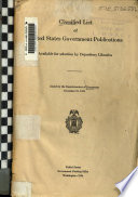Classified List Of United States Government Publications