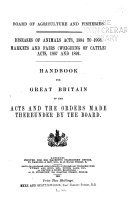 Diseases Of Animals Acts 1894 To 1903