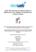 Clear Web Services Ten Natural Steps To Making Sure Your Website Is Optimised For A Search Engine