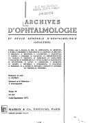 Archives d'ophtalmologie et revue générale d'ophtalmologie