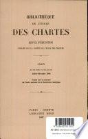 Bibliotheque De L'Cole des Chartes Revue D'Erudition