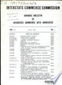 Advance Bulletin of Interstate Commerce Acts Annotated Book