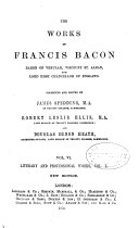 The Works of Francis Bacon      Literary and professional works