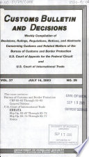 Customs Bulletin and Decisions Book PDF