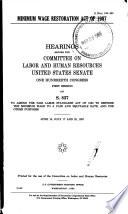 Minimum Wage Restoration Act of 1987