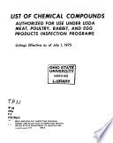 List of Chemical Compounds Authorized for Use Under USDA Meat  Poultry  Rabbit  and Egg Products Inspection Programs