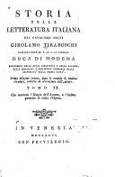 Storia della letteratura italiana: L' Elogio dell' autore [per Antonio Lombardi] e l' indice generale di tutta l' opera