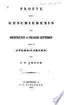 Proeve Eener Geschiedenis Der Dichtkunst En Fraaije Letteren Onder De Angel Saksen