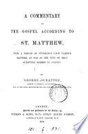 A Commentary On The Gospel According To St Matthew