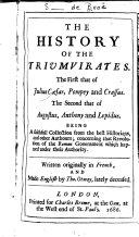 Histoire du triumvirat de Jules Cesar, Pompée et Crassus