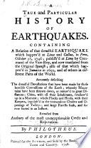 A True And Particular History Of Earthquakes