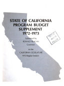 State of California Program Budget Supplement ... Submitted by ... Governor to the California Legislature