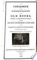 Catalogue Of An Extensive Collection Of Old Books