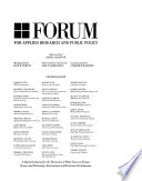Forum for Applied Research and Public Policy Book