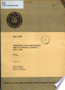 Proceedings of the ANPP Reactor Analysis Seminar  October 11 and 12  1960