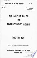 Mos Evaluation Test Aid For Armor Intelligence Specialist Mos Code 133  PDF