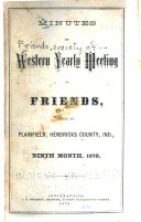 Minutes of Western Yearly Meeting of Friends