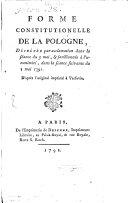 Forme Constitutionelle De La Pologne ebook