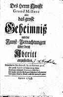 Des Herrn Swifft Grand Mister   oder das grosse Geheimni   und die Kunst Betrachtungen   ber dem Abtritt anzustellen