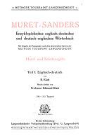 Muret Sanders Enzyklopadisches englisch deutsches und deutsch englisches worterbuch  Englisch deutsch