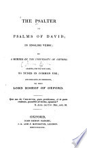 The Psalter, Or, Psalms of David in English Verse