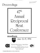 Annual Reciprocal Meat Conference  Proceedings