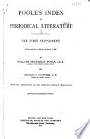 Poole s Index to Periodical Literature Book