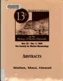 13th Biennial Conference on the Biology of Marine Mammals Book