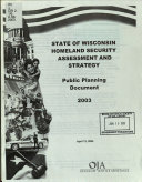 State of Wisconsin Homeland Security Assessment and Strategy Book
