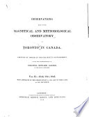 Observations Made at the Magnetical and Meteorological Observatory at Toronto in Canada ...: 1843-1845
