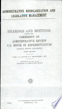 Administrative Reorganization and Legislative Management