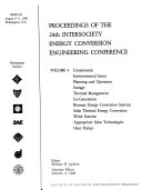 Proceedings of the 24th Intersociety Energy Conversion Engineering Conference  Energy management and renewable resource systems