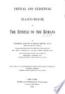 Critical And Exegetical Hand Book To The Epistle To The Romans