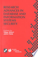 Research Advances in Database and Information Systems Security Book
