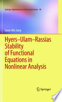 Hyers Ulam Rassias Stability Of Functional Equations In Nonlinear Analysis Book PDF