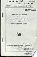 Report on the Activity of the Committee on Financial Services for the     Congress Book