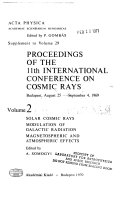 Proceedings Of The 11th International Conference On Cosmic Rays Budapest August 25 September 4 1969 Book PDF