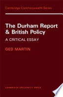 The Durham Report And British Policy Book PDF
